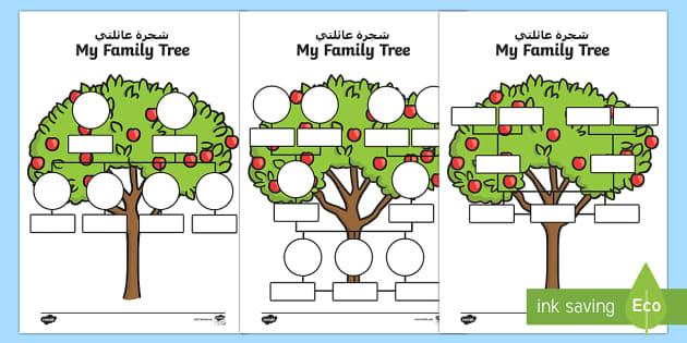 My Family Tree Activity Sheet Arabic/English - My Family Tree