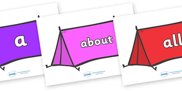 100 High Frequency Words on Tents - High frequency words, hfw, DfES Letters and Sounds, Letters and Sounds, display words