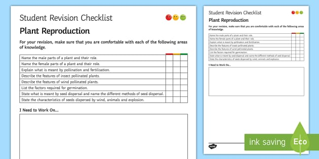 Plant Reproduction Student Revision Checklist - Student Progress Sheet (KS3), plant reproduction, seed dispersal, wind, explosion,
