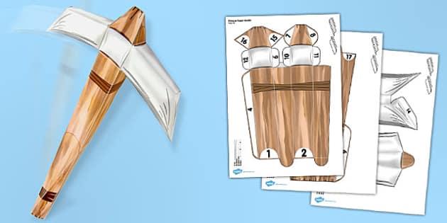 Pickaxe Paper Model - models, craft, activity, minecraft