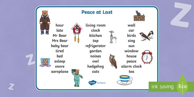 Peace at Last Word Mat (Text) - Peace at Last, resources,  Jill Murphy, Large family, Mr Bear, Mrs Bear, Baby Bear, sleep, story, story book, story book resources, story sequencing, story resources, word mat, writing aid