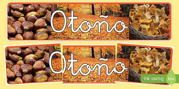 Pancarta de otoño con fotografías