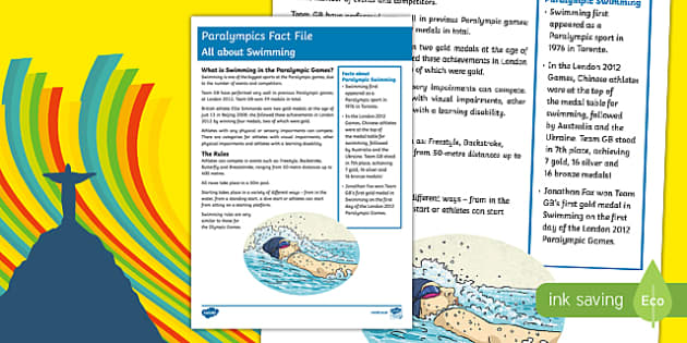 All About Swimming Rio Paralympics 2016 Fact File
