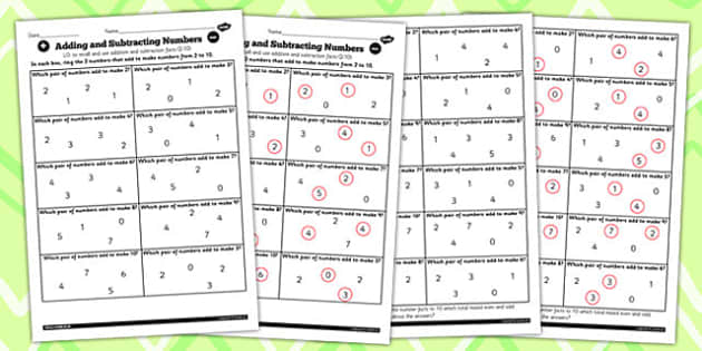 Number Facts Finding Pairs Worksheet 2-10 - number, facts, 2, 10