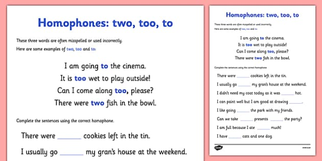 Homophones To Two Too Worksheet homophones to two too – To Too Two Worksheet