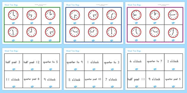 Mixed Time Bingo - australia, time, bingo, mixed, clock, game