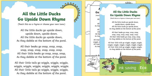 All the Little Ducks Go Upside Down Rhyme - spring, ducks rhyme, all the little ducks go upside down