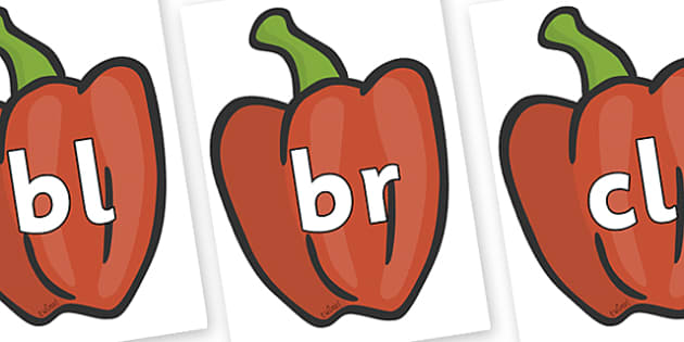 Initial Letter Blends on Peppers (Plain) - Initial Letters, initial letter, letter blend, letter blends, consonant, consonants, digraph, trigraph, literacy, alphabet, letters, foundation stage literacy
