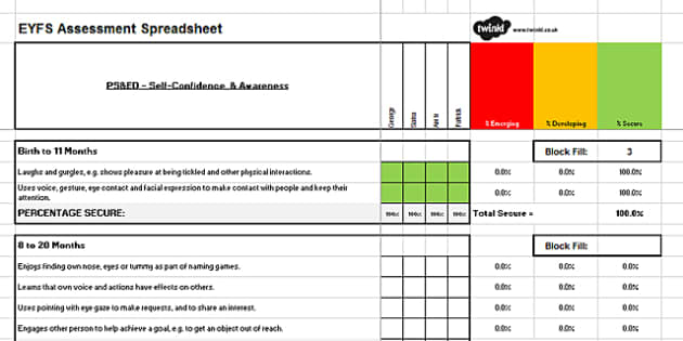 EYFS Seven Areas of Learning Assessment Spreadsheet - EYFS Assessment, ELG, exceeding descriptors, profile