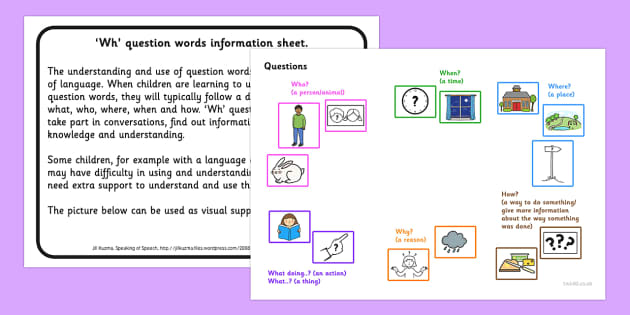 Wh Question Word Information Sheet - question words, questions