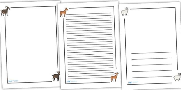 The Three Billy Goats Gruff Page Borders - Three Billy Goats Gruff, traditional tales, page border, a4 border, template, writing aid, writing border, page template, tale, fairy tale, goat, billy goat, troll, sweet grass, bridge