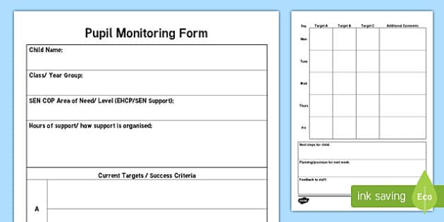 Teaching Assistant Pupil Monitoring Form Pro Forma