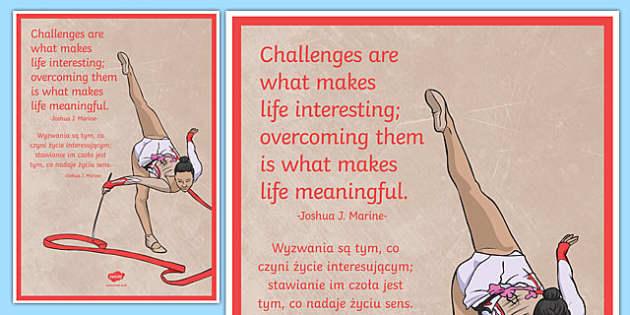 Challenges Are What Makes Life Interesting Motivational Poster Polish Translation - polish, challenge, poster, motivational
