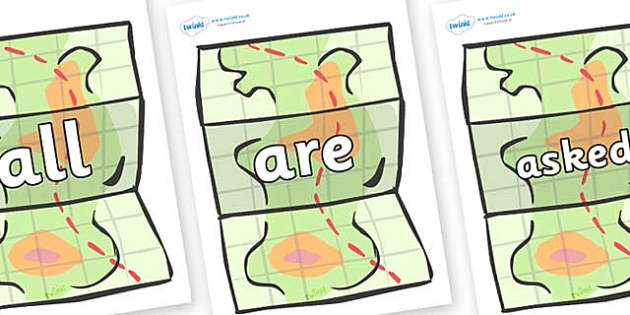 Tricky Words on Maps - Tricky words, DfES Letters and Sounds, Letters and sounds, display, words
