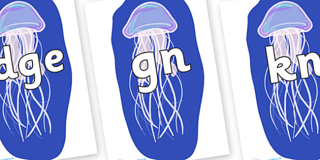 Silent Letters on Jellyfish - Silent Letters, silent letter, letter blend, consonant, consonants, digraph, trigraph, A-Z letters, literacy, alphabet, letters, alternative sounds