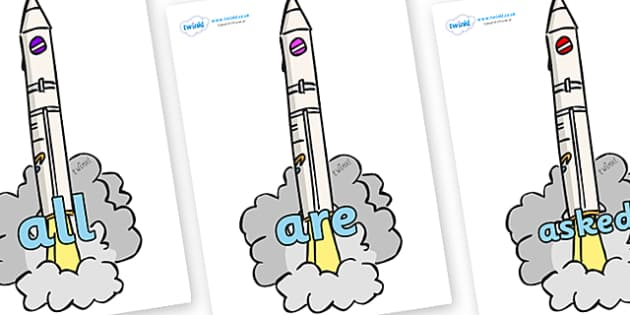 Tricky Words on Launching Rockets - Tricky words, DfES Letters and Sounds, Letters and sounds, display, words