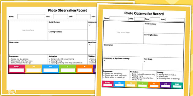 EYFS Photo Observation Sheet - observations, observe, early years