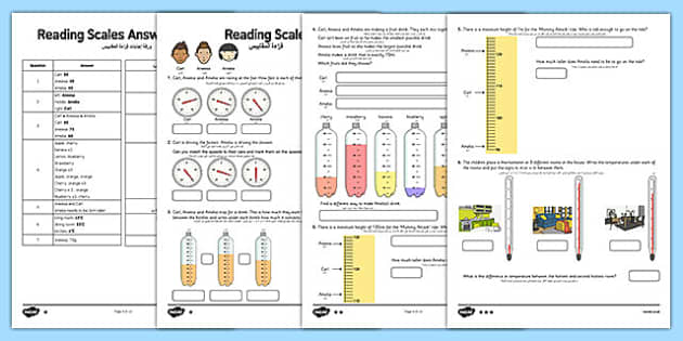 Reading Scales Activity Sheet Arabic Translation - arabic, reading, scales, activity, sheet, read, maths, worksheet