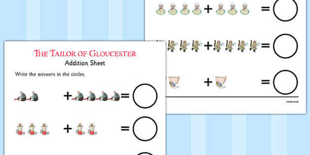 The Tailor of Gloucester Up to 10 Addition Sheet - tailor, gloucester