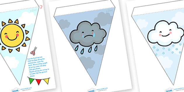 Weather Symbols Display Bunting - weather bunting, weather and the seasons, weather symbols, weather symbols bunting, weather display bunting, bunting