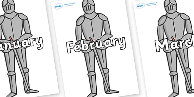 Months of the Year on Suits of Armour - Months of the Year, Months poster, Months display, display, poster, frieze, Months, month, January, February, March, April, May, June, July, August, September