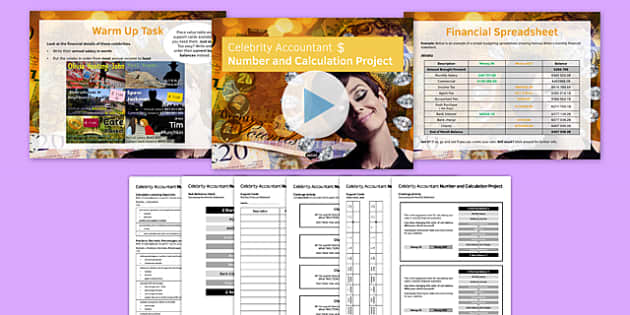 Celebrity Accountant Number and Calculation Project Pack - australia, Maths, KS 3, KS 4, number, calculation, fractions, percentages, decimals, money, project, budget