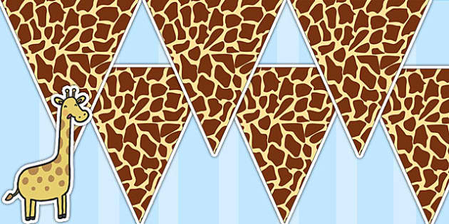 Giraffe Pattern Bunting - giraffe, animals, jungle, bunting