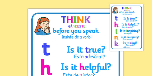 Think Before You Speak Poster Romanian Translation - romanian, think before you speak, think poster, remember to think poster, anti-bullying, bullying, think display poster, bullying