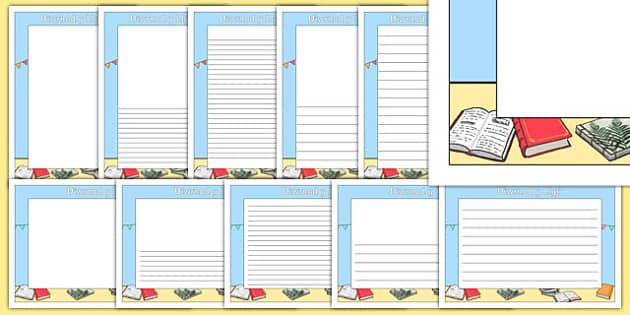 Diwrnod y Llyfr Page Borders Welsh - World Book Day, Book Day, literacy, English, Wales, display, writing, writing frame, dydd , ddydd, ddiwrnod