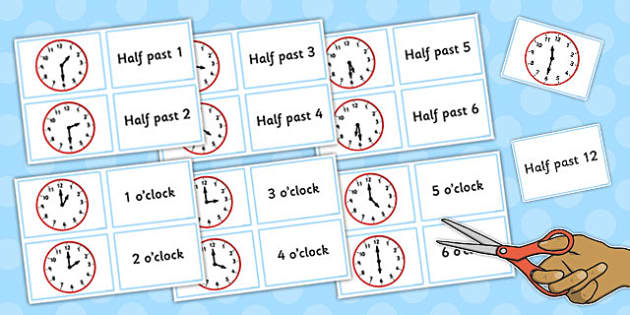 Clock Matching Game Split Cards - clock, matching, game, split, cards