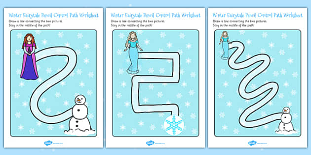 Winter Fairytale Pencil Control Path Worksheets - control, frozen