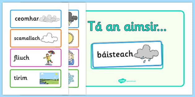 Weather Display Gaeilge - weather, forecast, irish, roi, poster, classroom, primary, aimsir