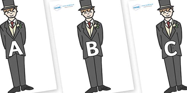 A-Z Alphabet on Grooms - A-Z, A4, display, Alphabet frieze, Display letters, Letter posters, A-Z letters, Alphabet flashcards