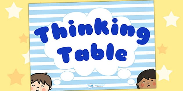 Thinking Table Poster - thinking, thoughts, poster, display