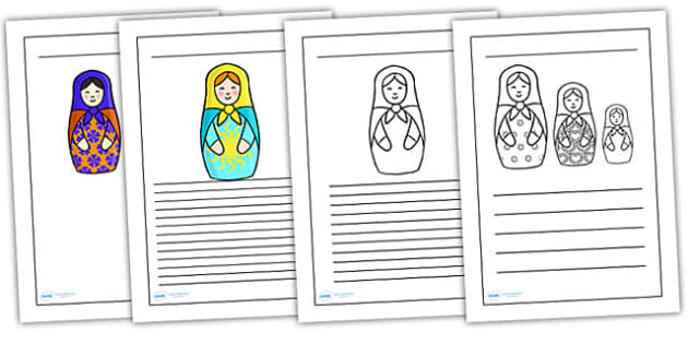 Russian Doll Writing Frames - russian doll, writing frame, write