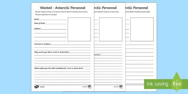 Job Application for Antarctica Differentiated Activity Sheets - CfE, writing, job application, polar lands, Antarctica, literacy, creating texts