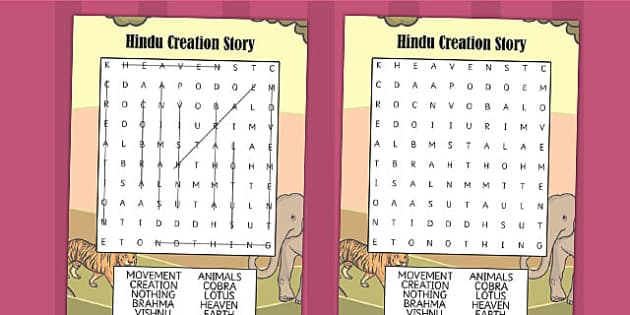 Hindu Creation Story Wordsearch - hinduism, religion, RE, stories