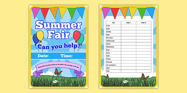 Elderly Care Summer Fair Helpers Needed Poster - Elderly, Reminiscence, Care Homes, Summer Fair