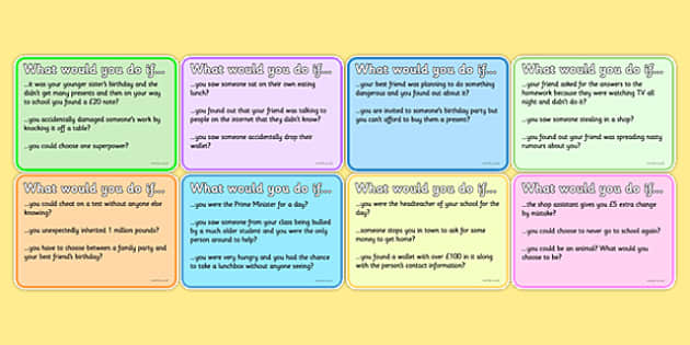 PSHCE What Would You Do If Prompt Cards - PSHCE, discussion cards, question cards, class discussion, PSHCE cards, what would you do if, activities