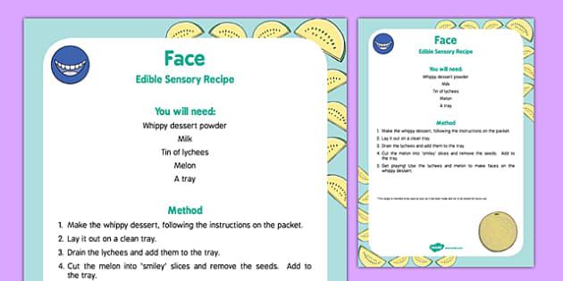 Face Edible Sensory Recipe