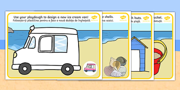 Seaside Playdough Mats Romanian Translation - romanian, Seaside, playdough, mat, holidays, water, tide, waves, sand, beach, sea, sun, holiday, coast