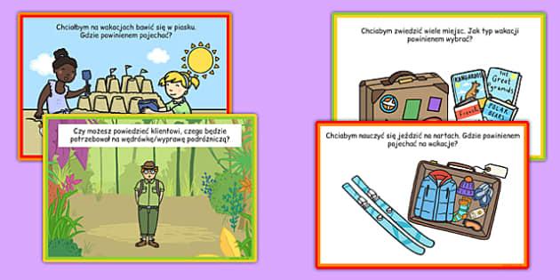 Karty z wyzwaniami Biuro podróży po polsku - wakacje, wyjazd