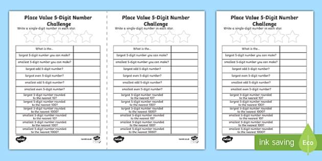 Place Value 5-Digit Number Challenge Activity Sheet-Scottish, worksheet