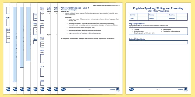 New Zealand English Years 0 3 Unit Plan Template - New Zealand Class Management, planning, planning template, speaking and listening, reading and writi