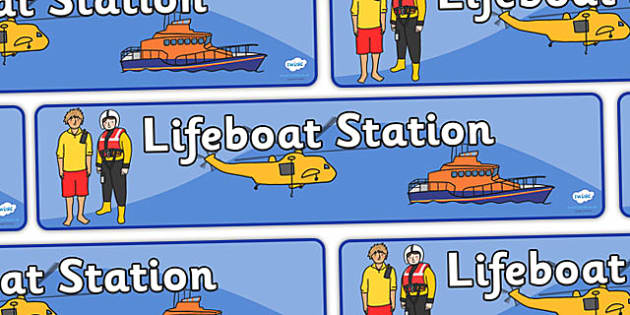 Lifeboat Station Display Banner - Life boat Role Play, life boat resources, seaside, seaside rescue, power boat, first aid, people who help us, role play, display, poster, display banner