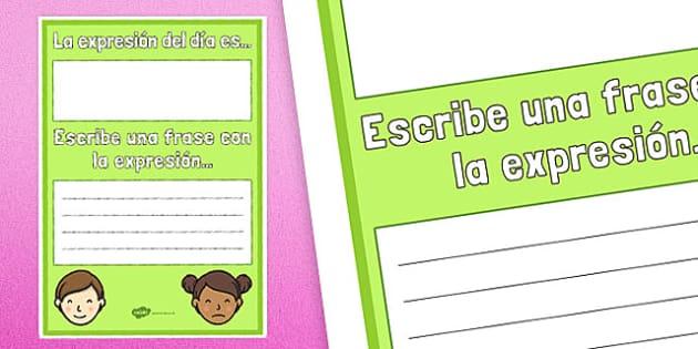 La expresión del día es... Poster Spanish - spanish, the expression of the day, expression, day, poster, display