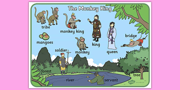 The Monkey King Buddhist Story Word Mat - buddhist, word mat