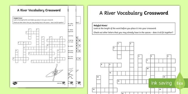 River Vocabulary Crossword