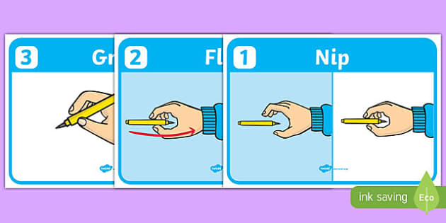 Nip, Flip and Grip - Pencil Grip Poster - pencil, how to grip a pencil, poster, banner, sign, nip, flip, grip, how to hold a pencil