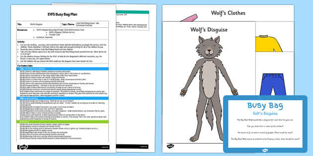 EYFS Wolf's Disguise Busy Bag Plan and Resource Pack - Little Red Riding Hood, big bad, wolf, dress up, traditional tales, disguise, hide,